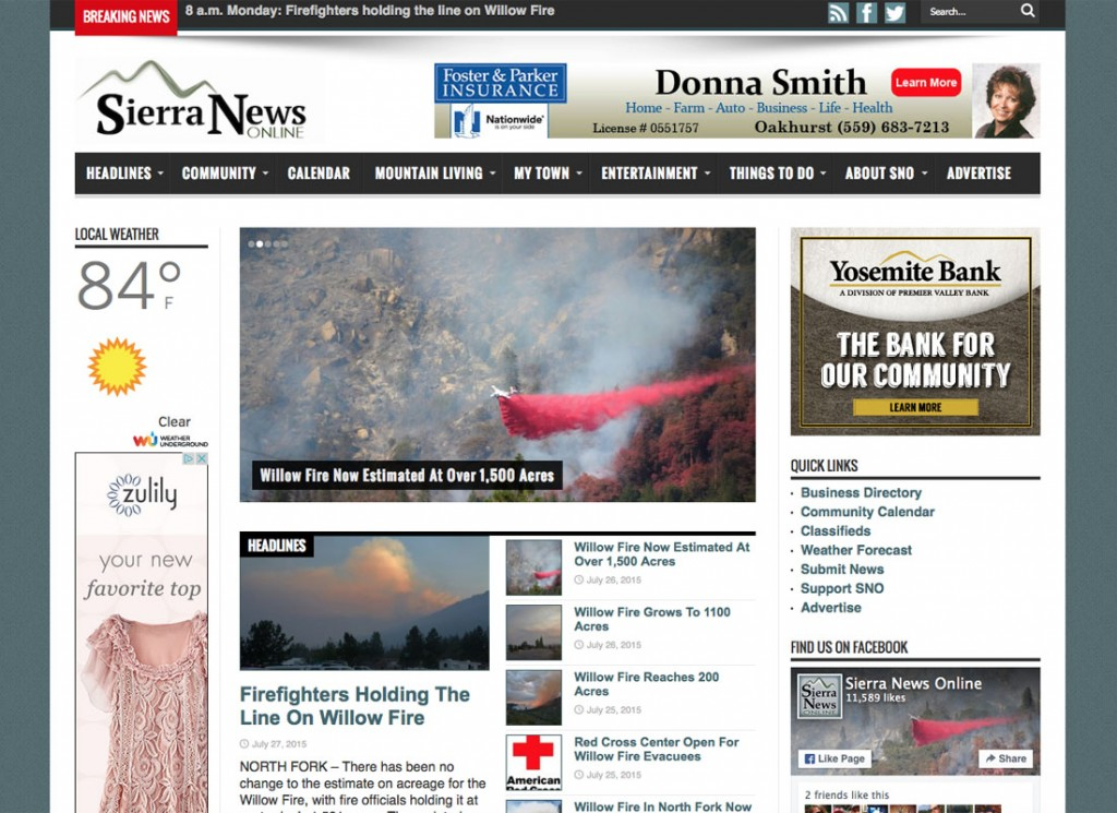 News Site For The Yosemite Mountain Area Mww Redesigned On WordPress Platform Moved Host To Addy And Managed Migration Of
