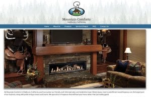 MountainComforts.com Screenshot with Fireplace