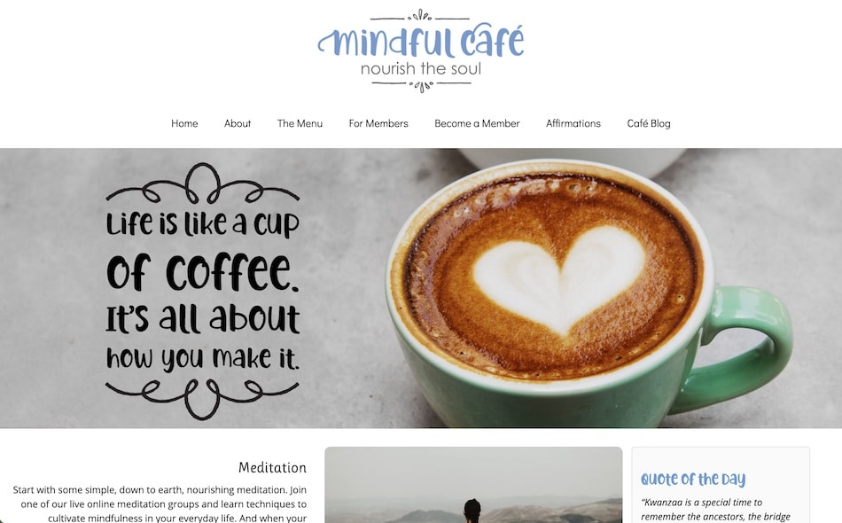 Screenshot of MindfulCafe.life
