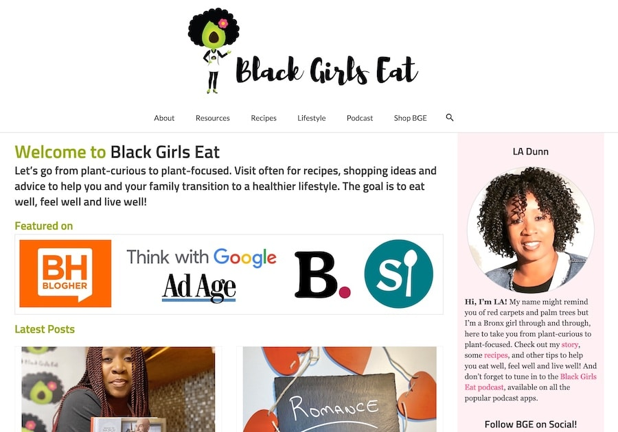 BlackGirlsEat.com Home Page