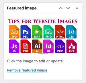 Example of how to enter a Featured Image in WordPress